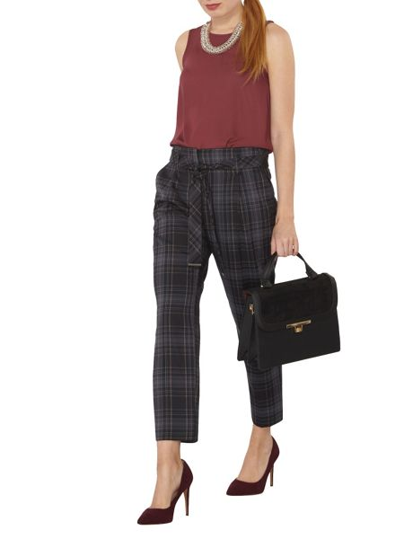 Dorothy Perkins Check Belt Straight Leg Trousers