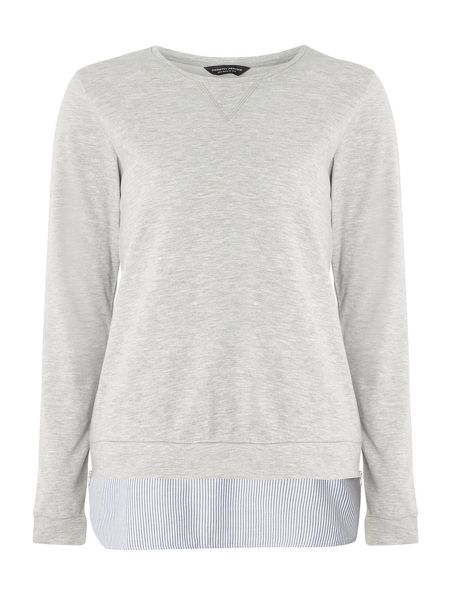 Dorothy Perkins Tall Striped 2in1 Sweat Top