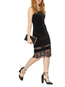 Dorothy Perkins Velvet Mix Lace Slip Dress