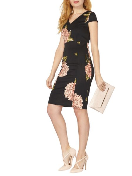 Dorothy Perkins Floral V-Neck Scuba Pencil Dress