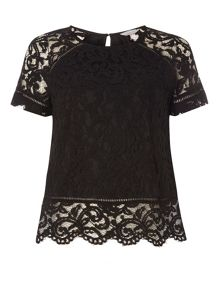 Dorothy Perkins Petite Scallop Lace T-Shirt