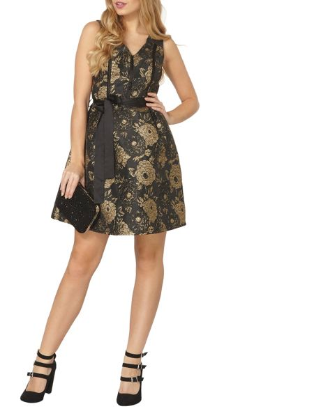 Dorothy Perkins Gold Thread Fit and Flare Dress