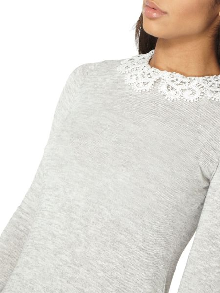 Dorothy Perkins Jersey Knit Top with Crochet Collar