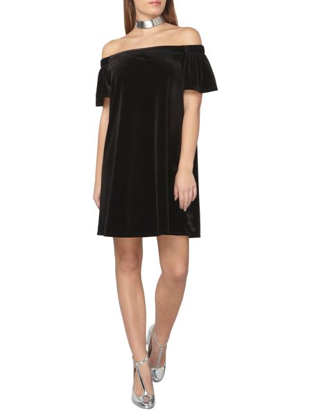 Dorothy Perkins Petite Velvet Bardot Dress