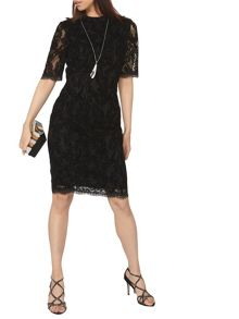 Dorothy Perkins Flocked Lace Pencil Dress