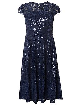 Sequin Lace Midi Dress