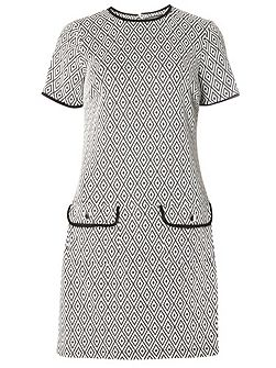 Geo Jacquard Shift Dress