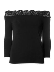 Dorothy Perkins Lace Trim Bardot Top