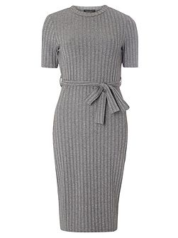 Tall Belted Rib Bodycon Dress