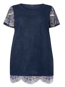 Dorothy Perkins DP Curve Lace Front T-Shirt