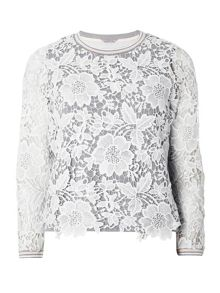 Dorothy Perkins Petite Lace Tipped Sweatshirt
