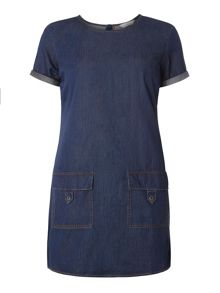 Dorothy Perkins Petite Mid Wash Denim Tunic