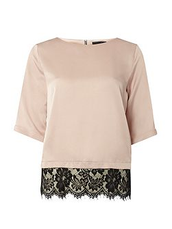 Satin Lace Hem T-Shirt