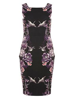 Floral Placement Print Pencil Dress