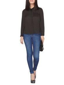 Dorothy Perkins Petite Spot Long Sleeve Shirt