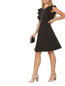 Dorothy Perkins Ruffle Front Fit and Flare Dress