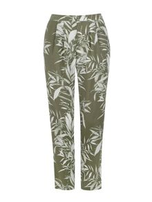 Wallis Khaki Palm Print Trouser