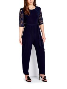 Wallis Petite Navy Lace Sleeve Jumpsuit