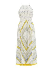 Wallis Cream And Lime Pleated Maxi Dress