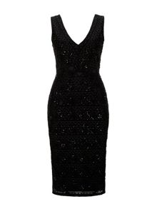 Wallis Black Embellished V neck Dress