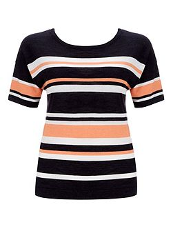 Multi Stripe Boxy Knitted Top