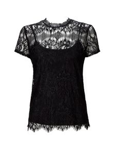 Wallis Black Scallop Lace Shell Top