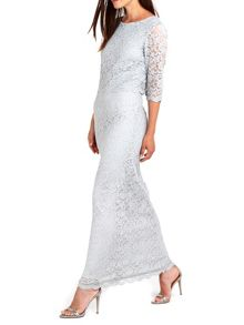 Wallis Silver Lace Over Layer Maxi Dress