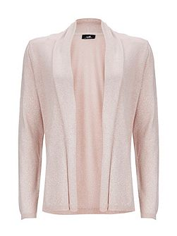 Pale Pink Metallic Shawl Cardigan