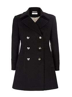 Petite Black Military Coat