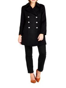 Wallis Petite Black Military Coat