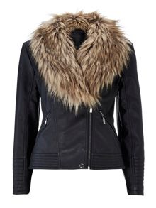 Wallis Black Fur Jacket