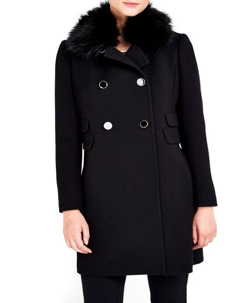 Wallis Petite Black Fur Collar Coat