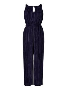 Wallis Navy Pleated Jumpsuit