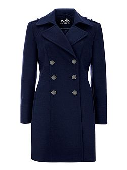 Navy Military Faux Wool Coat