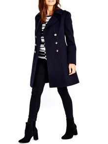 Wallis Navy Military Faux Wool Coat