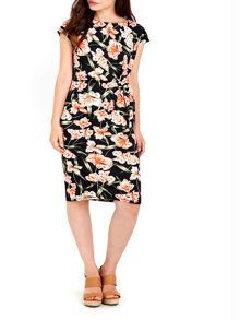 Wallis Black Floral Printed Tie Front Dress