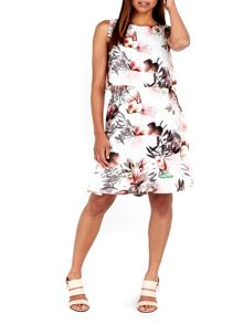 Wallis Pink Overlay Fit And Flare Dress