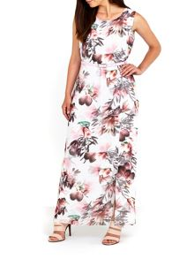 Wallis Pink Floral Printed Belted Maxi dress