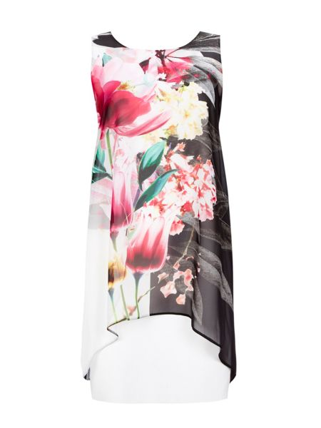 Wallis Contrast Floral Overlay Dress