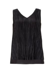 Wallis Black Double Layer Plisse Top