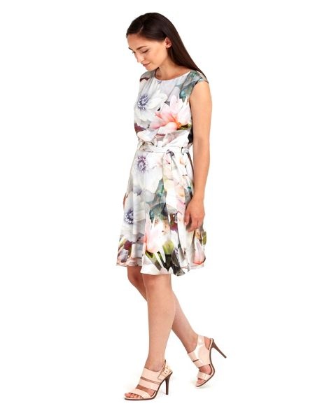 Wallis Grey Floral Printed Watercolor Dress