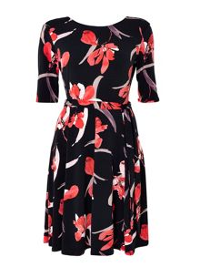 Wallis Black Sleeve Floral Printed Dress