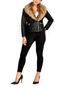 Wallis Petite Black Fur Biker Jacket