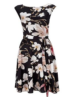 Black Floral Printed Fit And Flare Dress