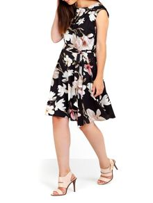 Wallis Black Floral Printed Fit And Flare Dress