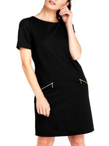 Wallis Black Zip Shift Dress