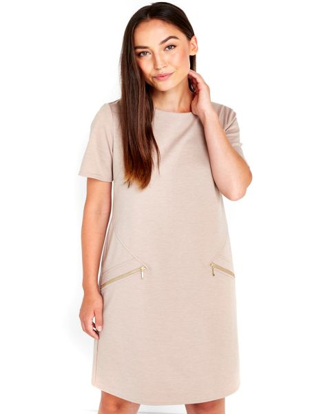 Wallis Camel Zip Shift Dress