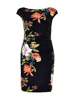 Oriental Black Wrap Dress