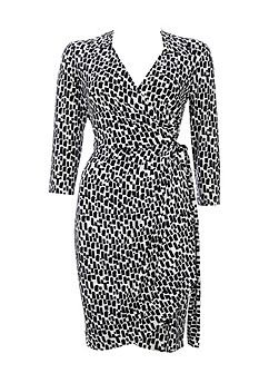 Monochrome 3/4 Sleeve Wrap Dress