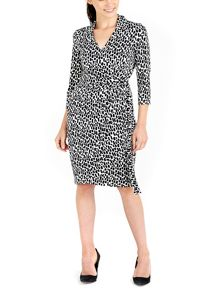 Wallis Monochrome 3/4 Sleeve Wrap Dress